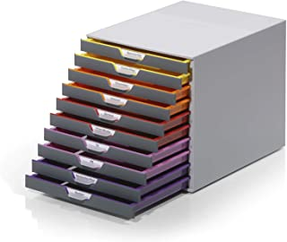 "DURABLE Desktop Drawer Organizer (VARICOLOR 10 Compartments with Removable Labels) 11"" w x 14"" d x 11.375"" h, Gray & Multi..."