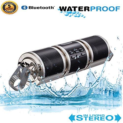 BACKWORLD Bluetooth Lautsprecher Motorrad Fahrrad MP3-Player Audio Motorrad Roller FM Radio Alarmanlage USB AUX-Eingang Wasserdicht,Silver