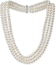 .925 Sterling Silver 6.5-7mm Freshwater Cultured Pearl 3-Row -Triple Strand Necklace, 18