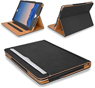 MOFRED Black & Tan Apple iPad Air 2 (Launched 2014) Leather Case-Voted #1 Best iPad Case by The Daily Telegraph (iPad Models A1566 A1567)