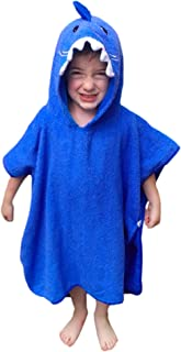 Hudz Kidz Premium Hooded Towel Poncho for Kids & Toddlers, Soft 100% Cotton, Ideal at Bath, Beach, Pool (Blue Shark)