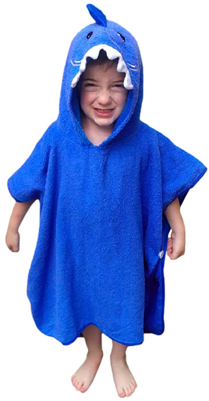 Hudz Kidz Softest Quick Dry Hooded Kids Shark Towel for Toddler - 5T - All Cotton Gently Snuggles Kids Dry. Get The Towel Moms Love (Blue Shark)