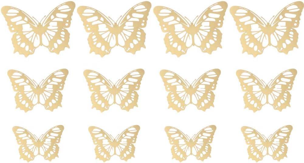 tiaomao11 12 St/ück//Packung DIY Metall Textur Party Supplies Home Dekoration Mariposas Decals Schmetterling Wandaufkleber 3D hohl Gold Silber Rose Gold Typ A, Gold