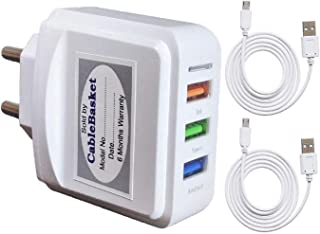 Cablebasket 3 amp charger Wall Adapter with 3.1A fast Charging Triple 3 USB Port 2 Micro USB Charging Cables for All iOS & Android Devices (White)