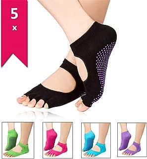 Calcetines de Yoga con Dedos para Pilates Danza Yoga Gimnasio Deportes Artes Marciales XLKJ 5 Pares Calcetines Antideslizantes Mujeres