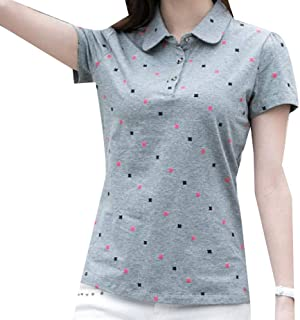 Howely Womens Polo Slim Fitting Blouse Leisure Cotton Short Sleeve Tees