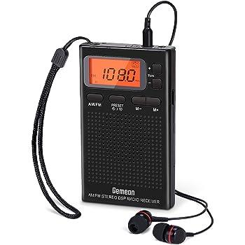 小型ポータブルラジオ 携帯ラジオ 電池式 AM/ワイドFM対応、プリセット機能付き、高感度受信クロックラジオ 目覚まし時計ラジオ「イヤホン、ストラップ付き」 DSPチップ搭载 通勤 旅行に最適 (モデルJ-125) by Gemean。