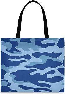 DOSHINE Einkaufstasche aus Segeltuch, abstrakte Camouflage, blau, wiederverwendbar, Einkaufstasche, Schulranzen, Handtasche für Damen, Mädchen