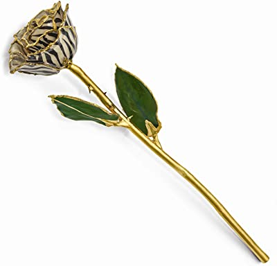 Flowers & Leaves Lacquer Dipped 24K Gold Trim Single Stem Cream Black Zebra Rose Home Décor