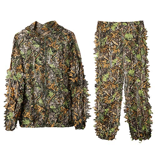 MOPHOTO Ghillie Suit 3D Leafy Camo Hunting Suits, Woodland Gilly Suits Hooded Gillies Suits for Men Youth, Leaf Camouflage Hunting Suits for Jungle Hunting, Shooting, Airsoft, Hallowee Costume