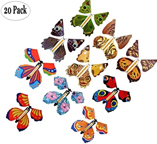 20 Pack Magic Fairy Flying Butterfly Rubber Band Powered Wind up Butterfly Toy Wind Up Butterfly in The Book Great Surprise Gift Random Color