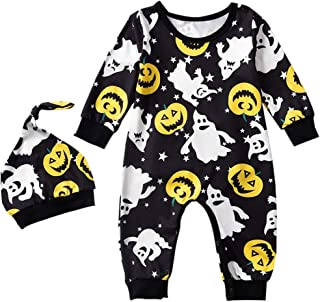 Newborn Infant Baby Boy Girl Halloween Outfit Jack-O'-Lantern Print Footless Romper and Beanie Hat