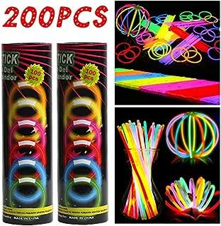 Barras Luminosas, Hieha 200 Piezas Glow Sticks para Fiesta 20cm 7 Colores con Conectores Varitas Luminosas Fluorescentes Kits para Crear Gafas/Pulseras/Collares/Flores/Pendientes