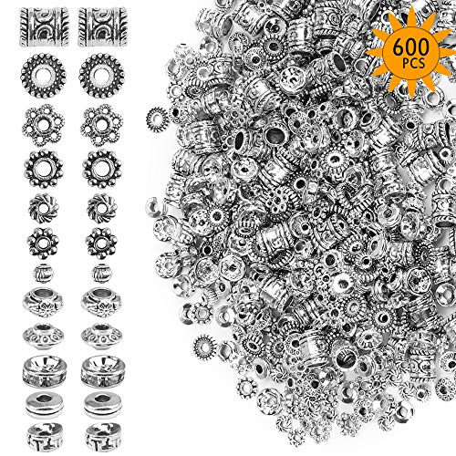 Metal Crystal Spacer Beads for Jewelry Making Adults, 600 Pcs Spacer Beads for Crafts Bracelets Necklace Making (12 Styles)