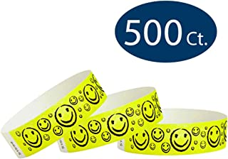 """WristCo Yellow Smiley Face 3/4"""" Tyvek Wristbands - 500 Pack Paper Wristbands for Events"""