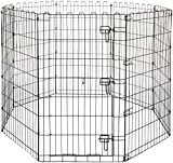 Pet Believe Foldable Metal Pet Dog Exercise Fence Pen with Gate - 24 x 24 Inches.