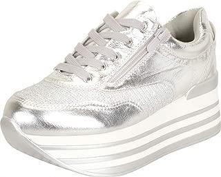 Cambridge Select Women's Retro 90s Low Top Lace-Up Stripe Chunky Platform Fashion Sneaker