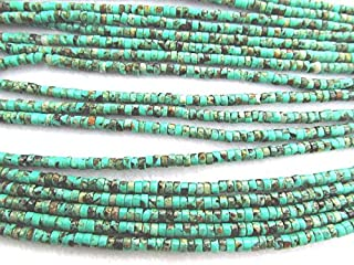2X4mm Natural African Turquoise Gemstone Green Brown Round Rondelle heishi Turquoise Beads strand 16inch