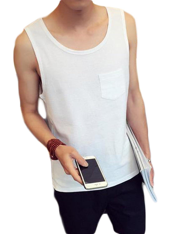 ZhongJue(ジュージェン) メンズ 綿 麻 タンクトップ ゆったり 無地 チョッキ 夏 リネンベスト カジュアル 夏服 メンズ大きいサイズ
