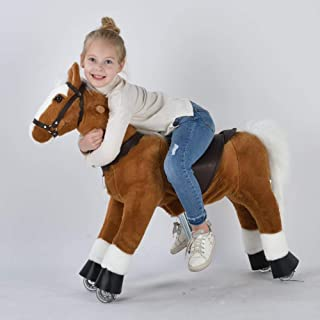 UFREE Ride-on Pony, Walking Horse Toy, Best Birthday Mechanical Horse Gift, Giddy up Riding Horse with Wheel, 36 inch Height Pony Rider Horse Toy with White Mane and Tail for 4-9 Years Old Kids