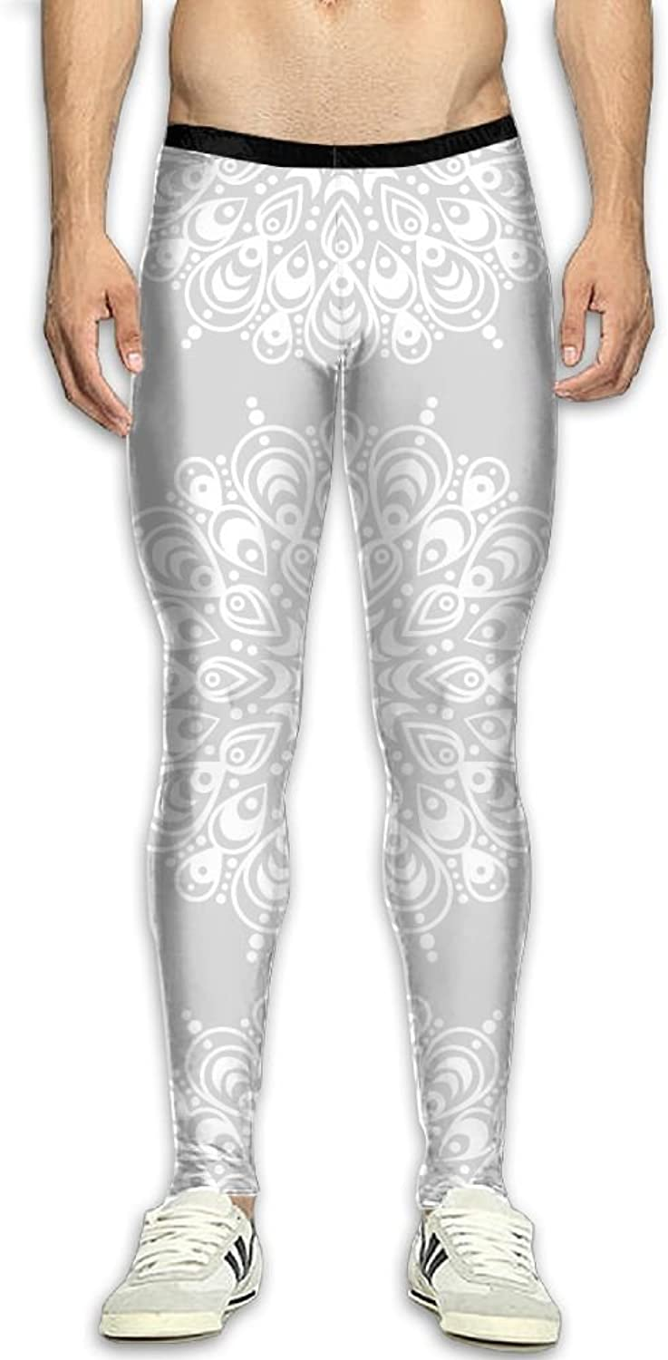 Snowflakes Pattern Men's Fitness Compression Pants Sports Leggings Tights Baselayer Yoga Trousers