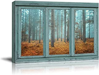 wall26 - Vintage Teal Window Looking Out Into a Blue Foggy Forest During Fall Time - Canvas Art...