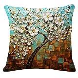 OSYARD Kissenbezüge Zierkissenbezüge,Glückliche Bunte Bäume Gedruckt Muster Kissenbezug...