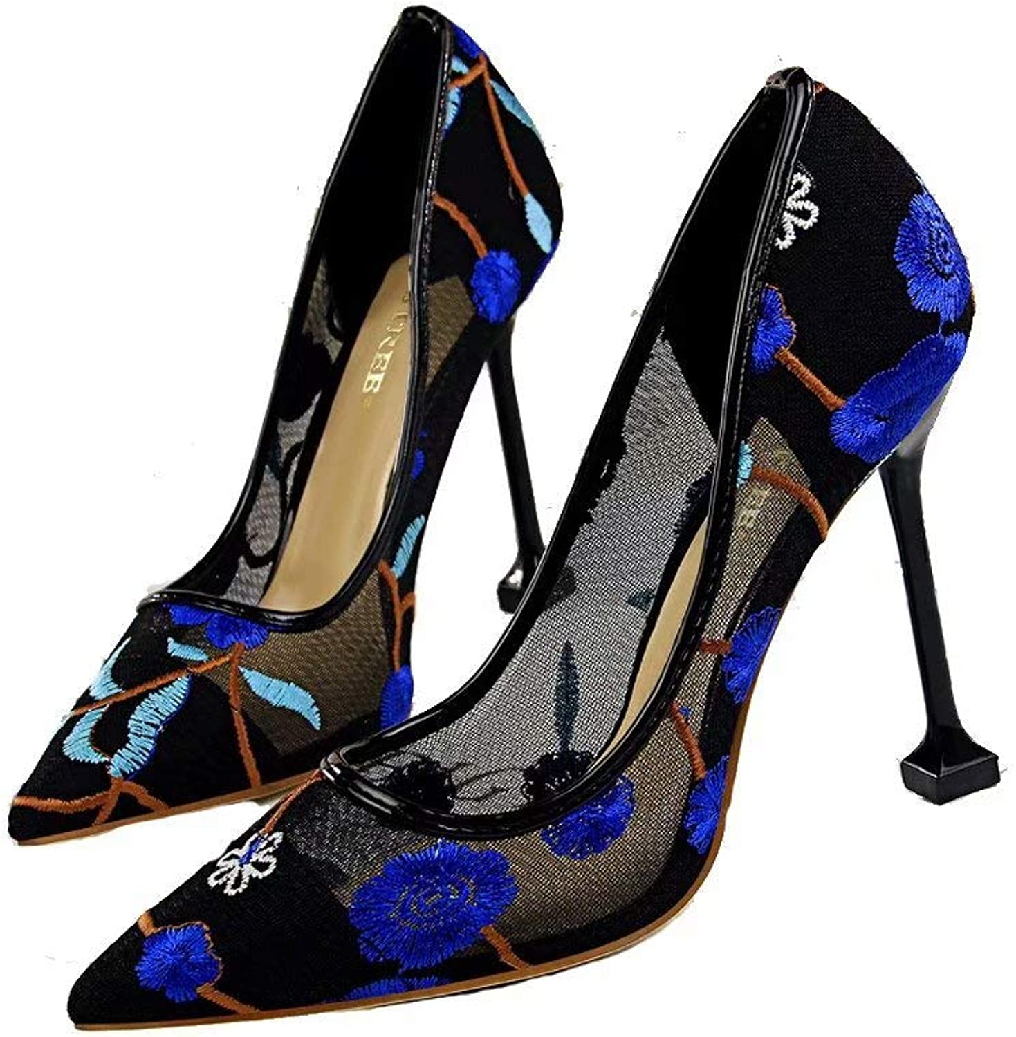 EDGssi23 Women's Embroidered pink Floral High Heels Sandal Pointed Toe Pump Dress shoes Sexy Party Wedding shoes