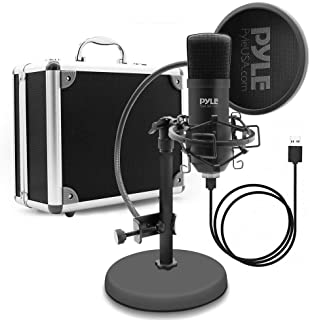 Pyle PDMIKT100 USB Microphone Podcast Recording Kit - Audio Recording Cardioid Condenser Mic w/Stand, Gooseneck Pop Filter...