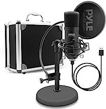 USB Microphone Podcast Recording Kit - میکروفون صوتی Cardioid Micro W / Stand، گوزنک پاپ فیلتر، برای دسکتاپ بازی، جریان، پادکست، استودیو، یوتیوب، کار با w / ویندوز مک PC - Pyle PDMIKT100