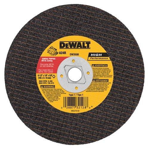 DEWALT DW3508 6-1/2-Inch by 1/8-Inch by 5/8-Inch A24R Abrasive Metal Cutting Wheel