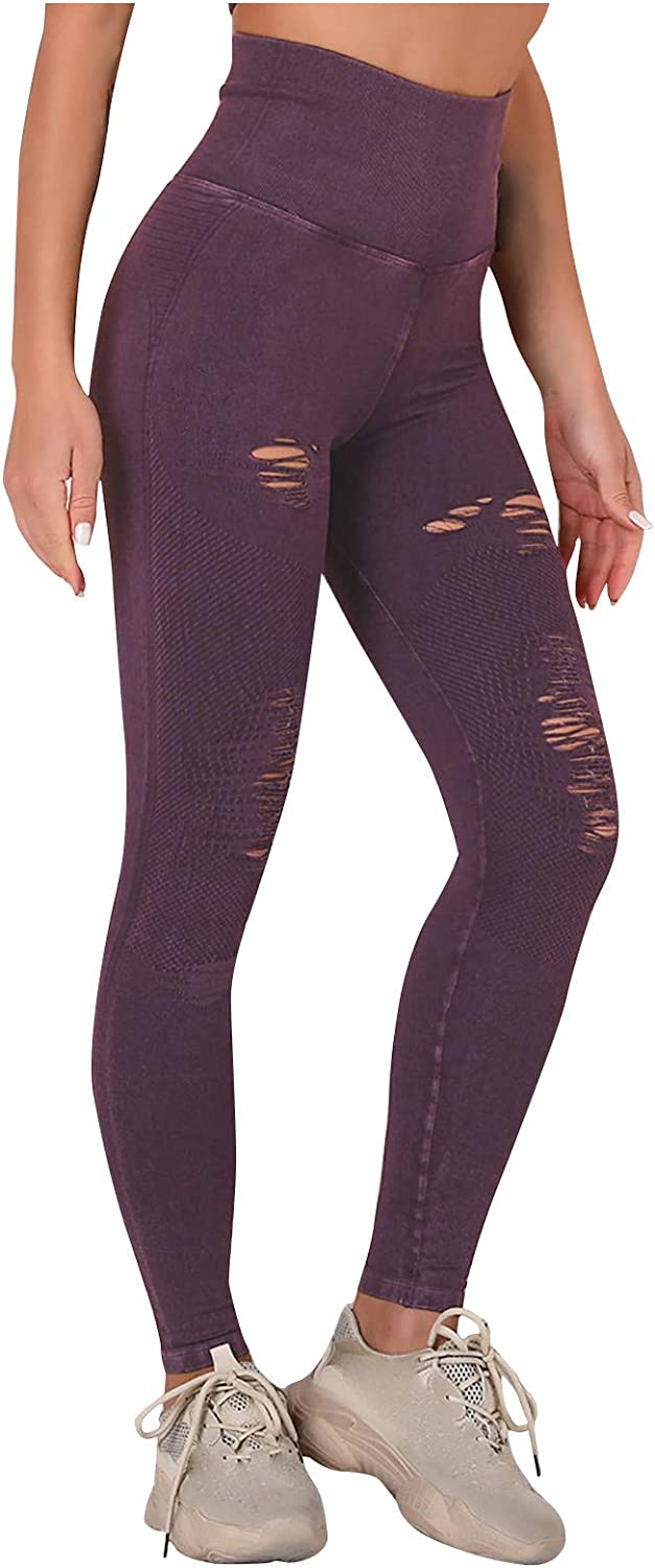 WUAI-Women Over item handling ☆ Ripped Yoga Direct sale of manufacturer Pants High Tummy Cutout Cont Wasit