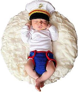 Lppgrace Newborn Baby Photography Props Crochet USMC Marines Uniform Costume Outfits