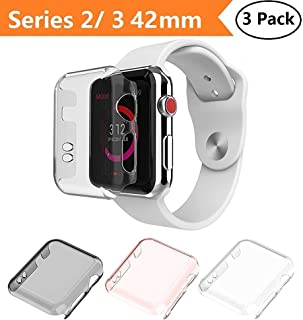 Apple Watch Series 2 & Series 3 Case 42mm, Monoy New [3 Pack] [Ultra Thin] Slim HD PC Screen Protector Protective Cover for iWatch 2 iwatch 3 42mm (Series 2/3 42mm)