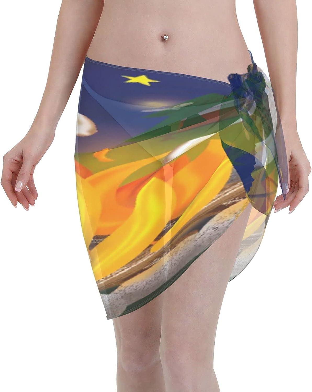 BOKEKANG Women Short Sarongs Beach Wrap,Sheer Bikini Wraps Chiffon Cover Ups for Swimwea
