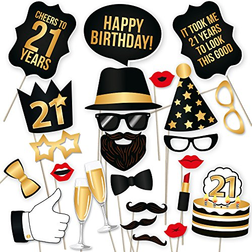 21st Birthday Photo Booth Props by PartyGraphix - Take Amazing Pictures at your Birthdays Party Selfie Station (Gold, 34)