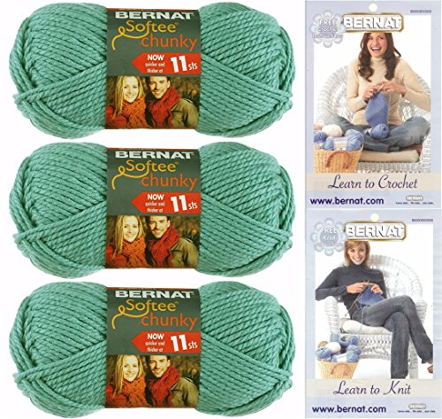 Bernat Softee Chunky Yarn Bundle Super Bulky #6, 3 Skeins Seagreen 28219