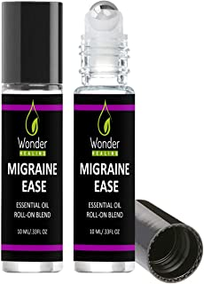 Migraine Ease Migraine Relief Essential Oil Roll On, 10ml - All Natural Lavender, Peppermint and Marjoram,Aromatherapy Oil Blend Headache Soother – Ready to Apply – Pack of 2