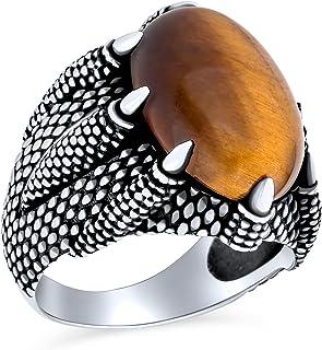 Men's Biker Jewelry Animal Claws Large Statement Biker Jewelry Oval Cabochon Brown Striped Tiger Eye Semi Precious Gemston...