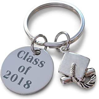 Class of 2018 Keychain with Graduation Cap Charm, Graduation Gift Keychain for Graduate