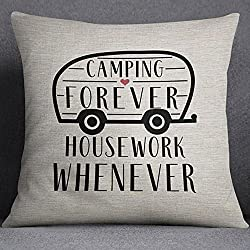 Image: High quality Camping pillow - Camping Forever; Housework Whenever - 16x16 inch pillow cover - cute pillow - funny pillow - pillow with sayings