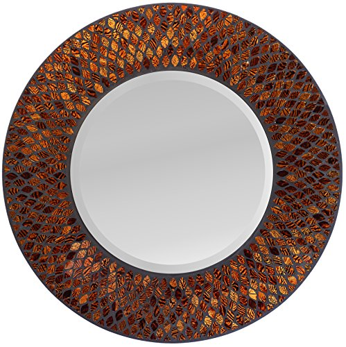 Lulu Decor, Amber Comb Mosaic Wall Mirror, Round Decorative Mirror for Living Room & Office Space (LP73M)