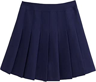 chouyatou Women's Simple High Waist All Around Pleated A-Line Skirt