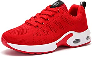AUCDK Women Sneakers Breathable Mesh Athletic Trainers Lightweight Flyknit Running Shoes Lace Up Sport Shoes