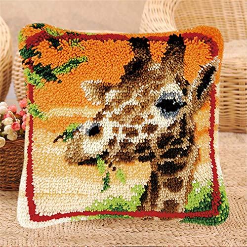 DIY Kits de gancho de pestillo DIY Tiro de almohada Funda de almohada Linda jirafa Animales Patrón de ganchillo Kits de hilo de crochet Artesanía para niños adultos 17''x17 '', con inserto de almohada