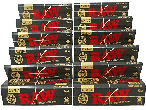 RAW Classic Black King Size Slim Natural Unrefined Ultra Thin 110mm Rolling Papers (12 Packs)