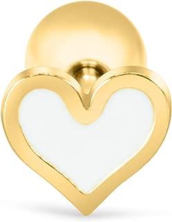 16g 16-Gauge 14k Gold Plated Triangle Star Moon Flower Clover Heart Cross Ear Studs Earring Piercing White