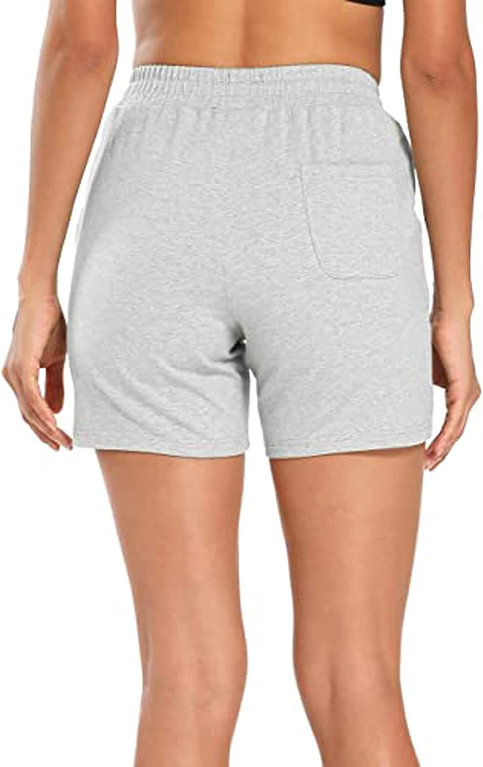 Fankle Womens Solid Color Casual Shorts Summer Drawstring Elastic Waist Comfy Beach Short with Pockets