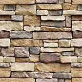 Yancorp Stone Wallpaper Rock Self-Adhesive Paper Peel and Stick Backsplash Wall Panel Removable Home Decoration (18'x394')
