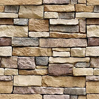 Yancorp 18 x120  Stone Brick Wallpaper Stick On Self-Adhesive Peel and Stick Backsplash Wall Panel Removable Home Decoration